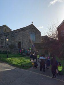 Walking to OLOL church